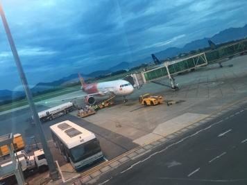 Boarding the plane in Da Nang